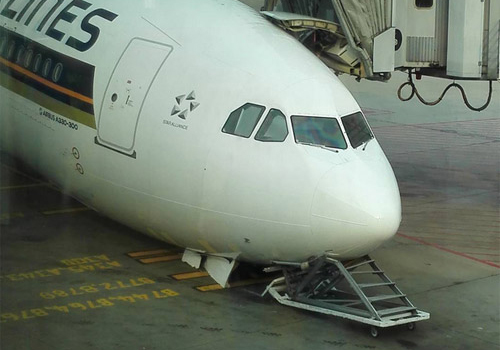 Singapore Airlines aircraft fell on its nose at the airport in Singapore